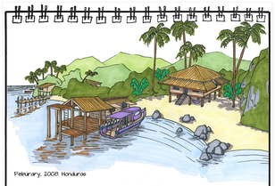 Drawing of a seaside village in Honduras by Erik Rempen